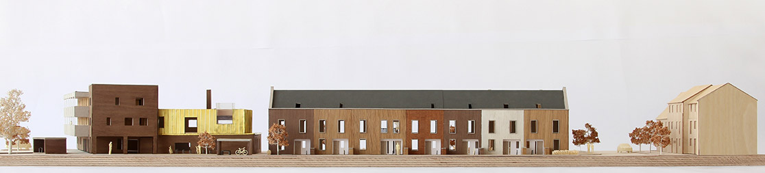 Architectural model of Marmalade Lane Cohousing - a housing development in Cambridge, UK, by TOWN and Trivselhus with Mole Architects.