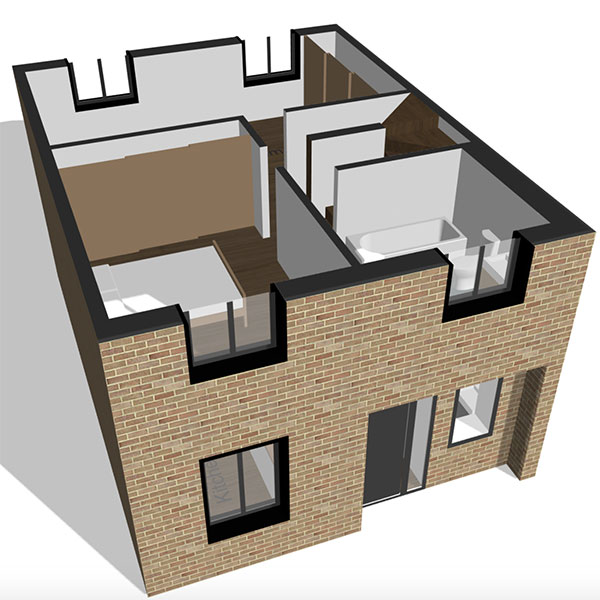 Image of a terraced house being customised and configured online