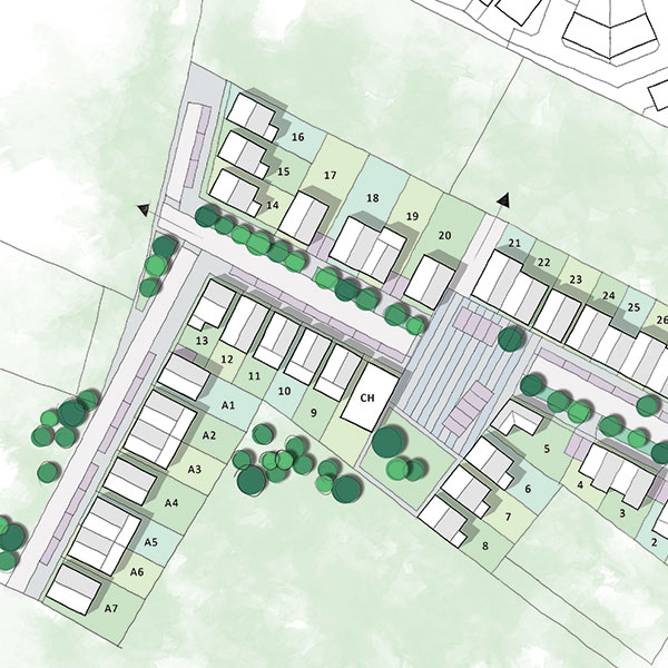 Masterplan drawing of a TOWN strategic land project showing housing, streets and green space