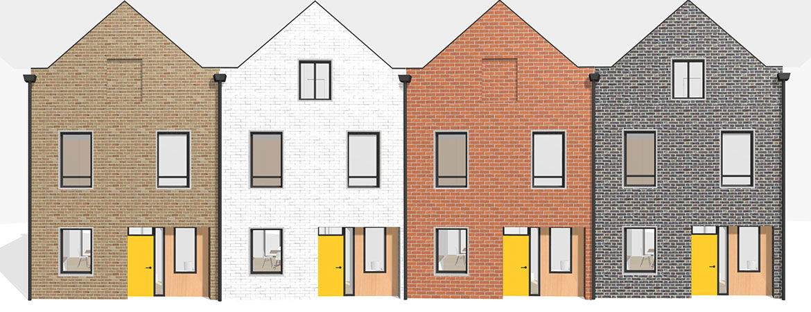 Computer image of four terraced custom build townhouses configured using the TOWN house configurator